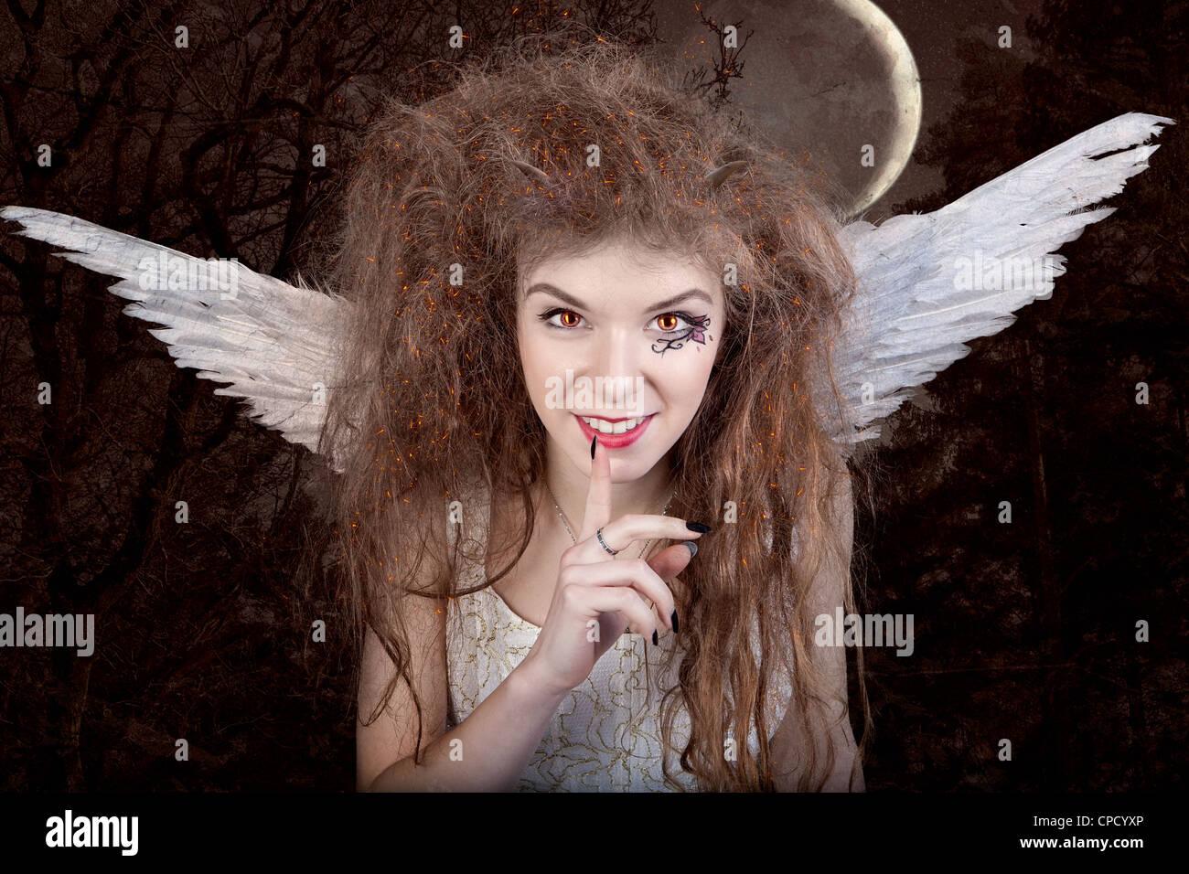 Bellissimo angelo con le corna, racconto di fantasia Immagini Stock