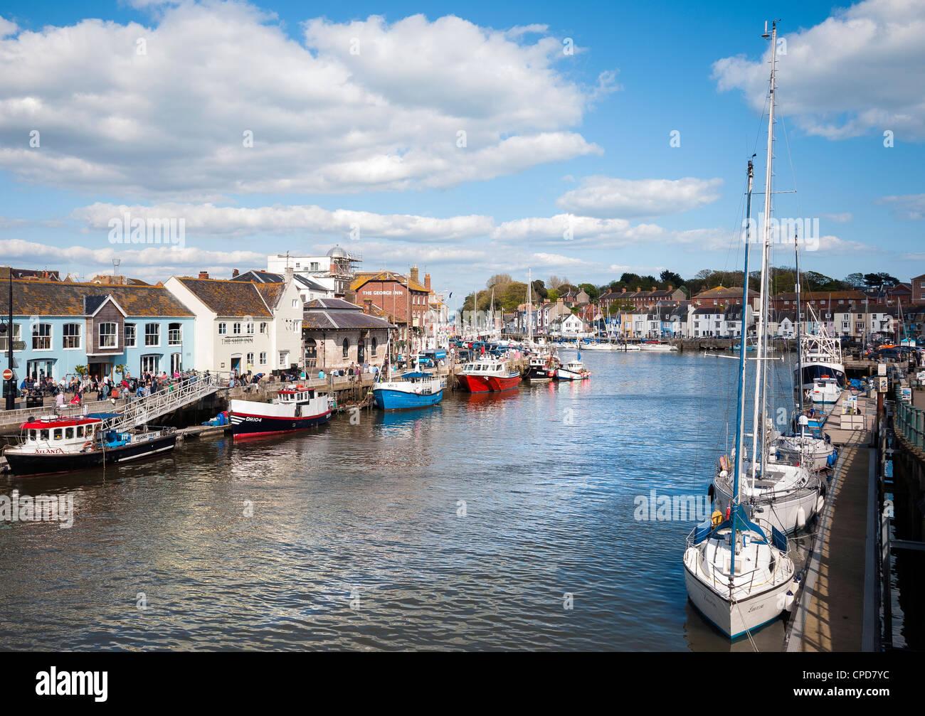 Weymouth Harbour, Custom House Quay, Dorset, England, Regno Unito Foto Stock