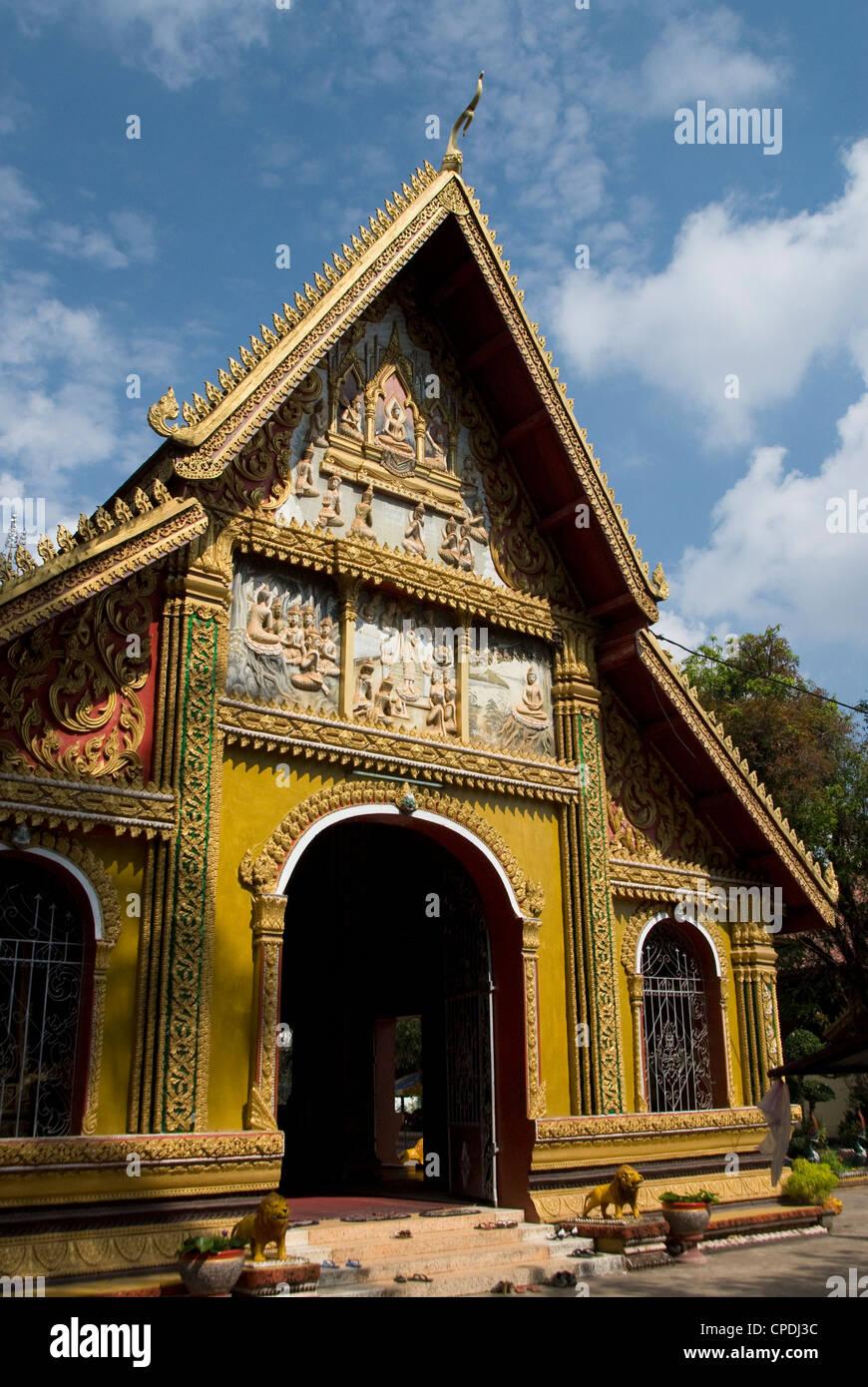 Facciata decorativa, Wat Si Muang, Vientiane, Laos, Indocina, Asia sud-orientale, Asia Immagini Stock