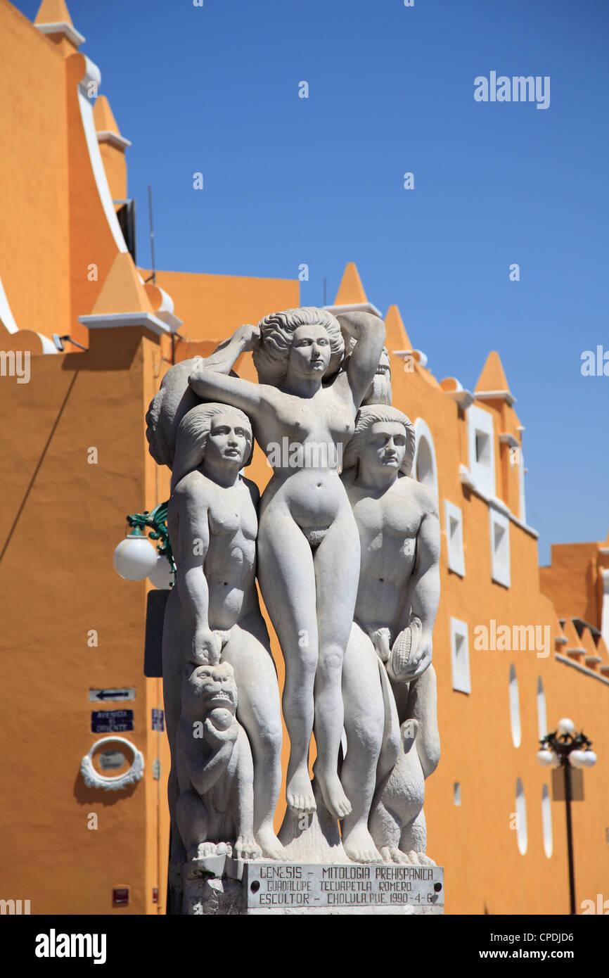 Genesi statua, artisti trimestre (Barrio del Artista), Puebla, centro storico, stato di Puebla, Messico, America Immagini Stock