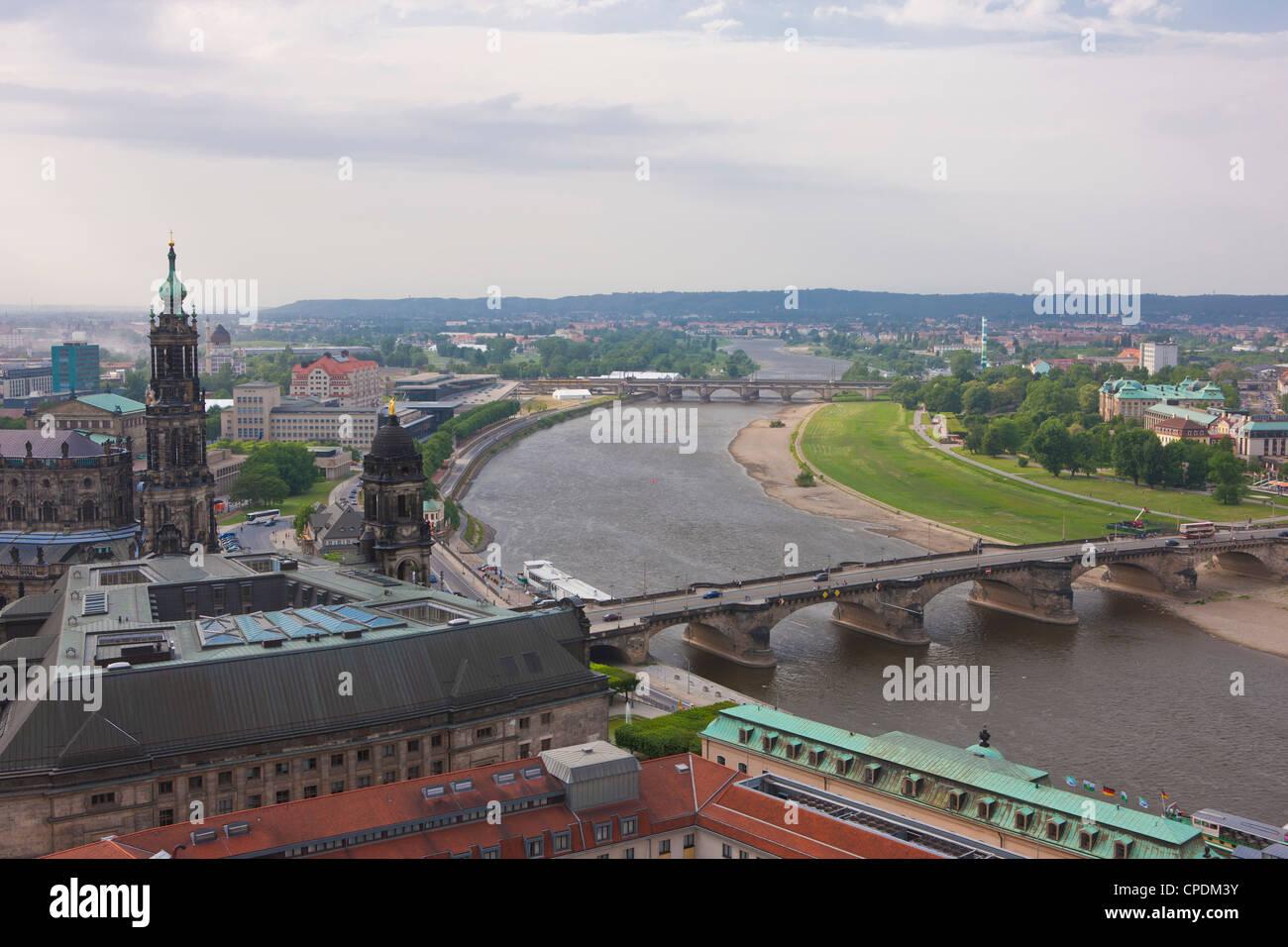 Vista su Dresda e del fiume Elba, in Sassonia, Germania, Europa Immagini Stock