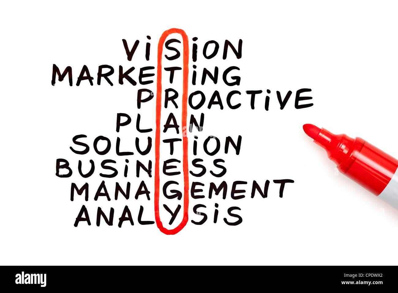 La strategia di parola evidenziata con un pennarello rosso in una tabella manoscritta Immagini Stock
