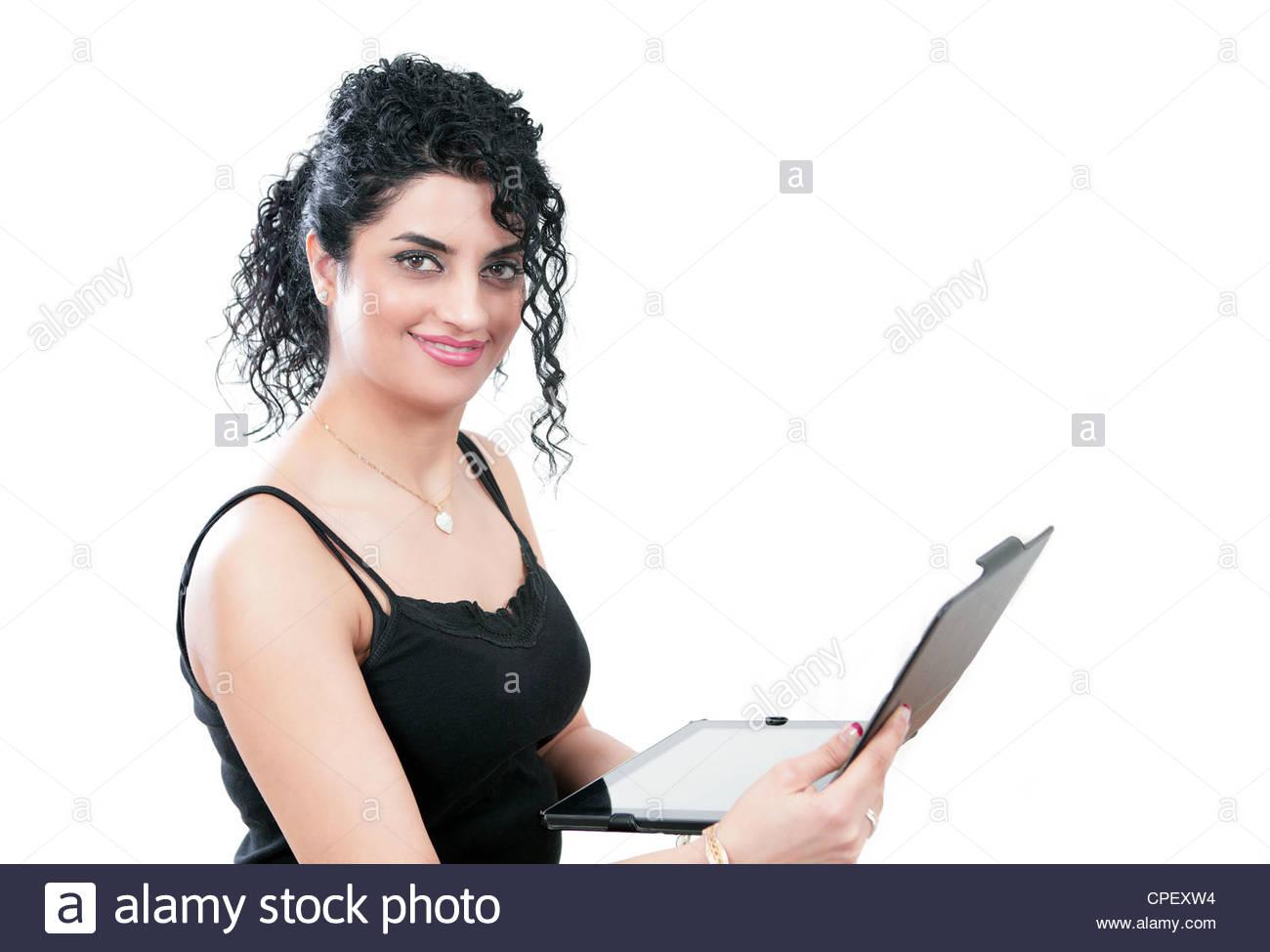 Donna con dispositivo di computer Immagini Stock