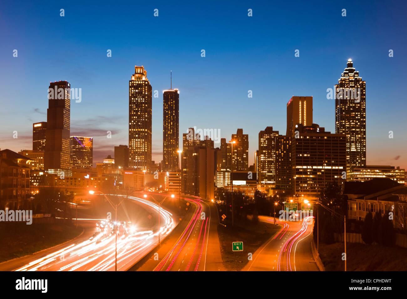 Stati Uniti d'America, Stati Uniti, America, Georgia, Atlanta, architettura, automobili, downtown, moderno, Immagini Stock