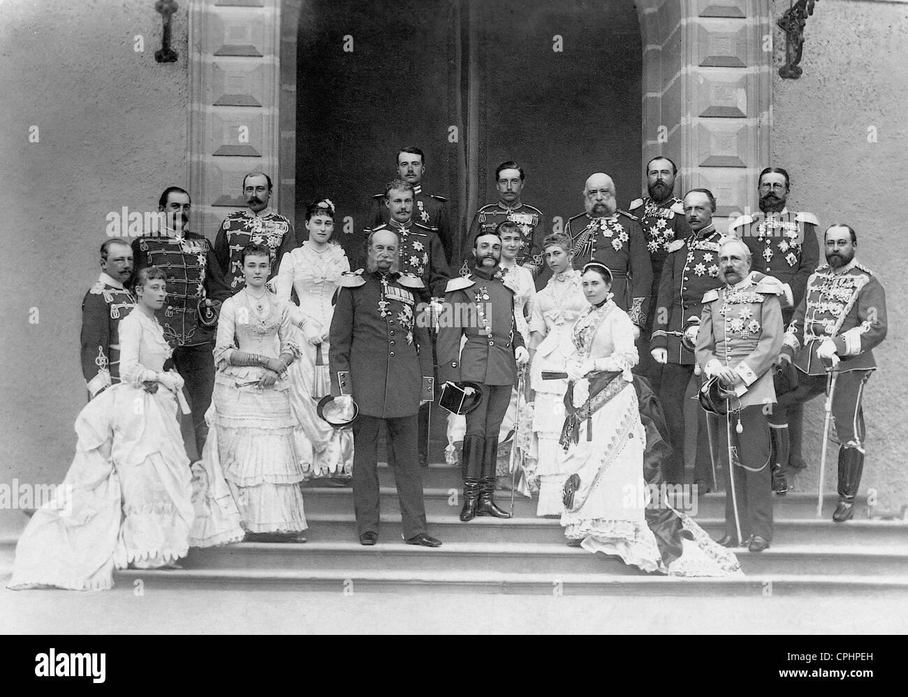 L'imperatore Guglielmo I con i membri della nobiltà superiore, 1883 Immagini Stock