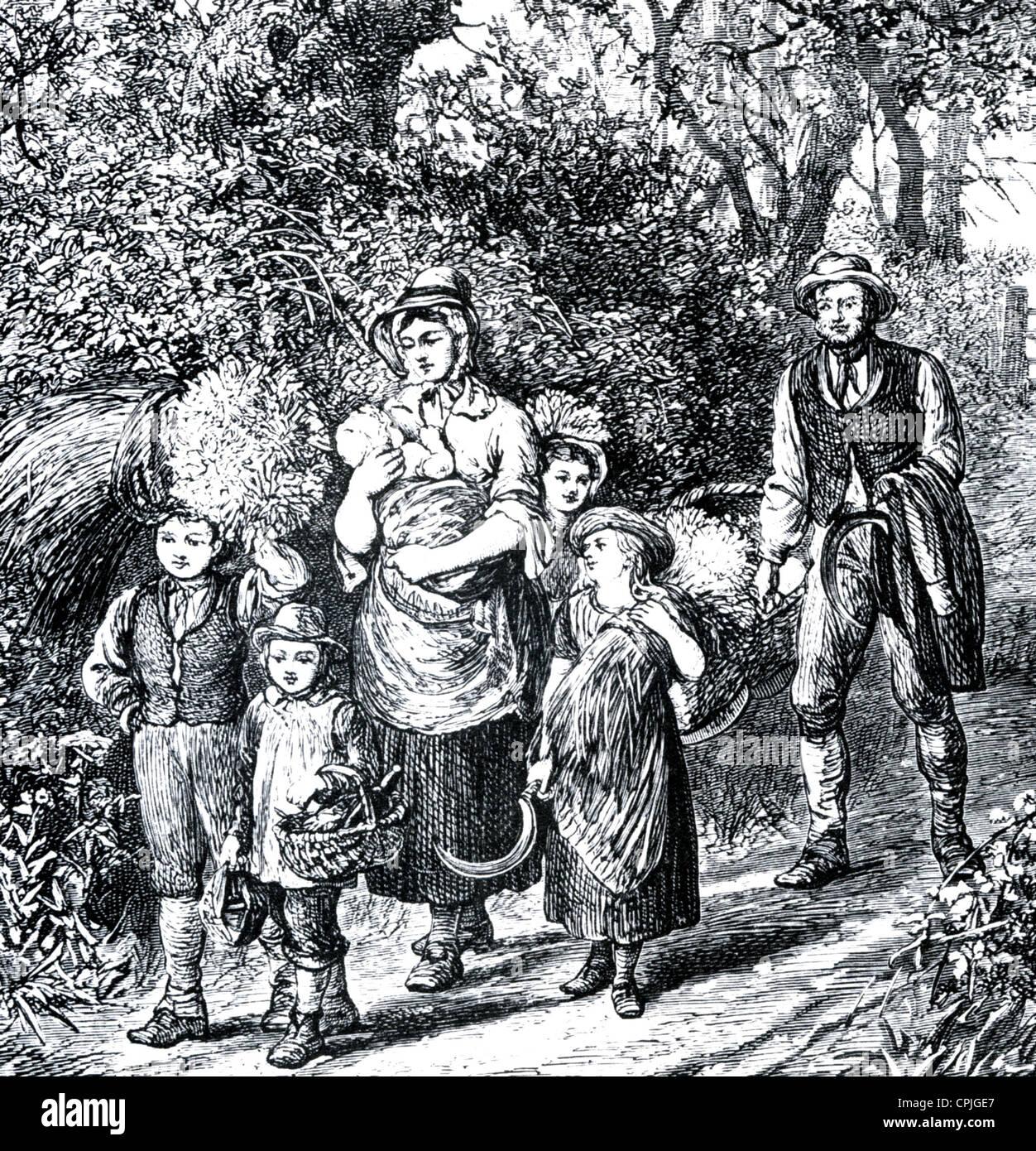Fattoria vittoriana LAVORATORE E FAMIGLIA una incisione idealizzato dal 'nostro villaggio' da Mary Russell Immagini Stock