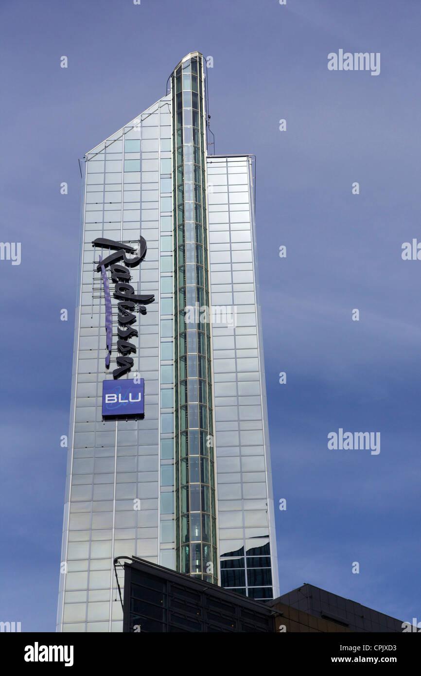 Radisson BLU Plaza Hotel, dal centro città di Oslo, Norvegia, Europa Immagini Stock