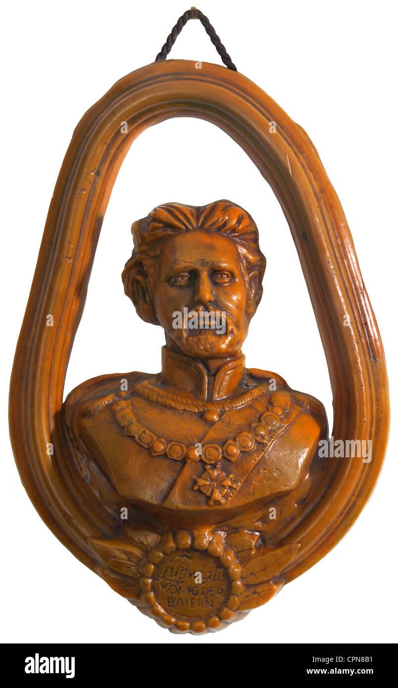 Louis II, 1845 bis 1886, re bavarese, ritratto, busto di cera, la decorazione parietale, Baviera, Germania, 70s, Immagini Stock