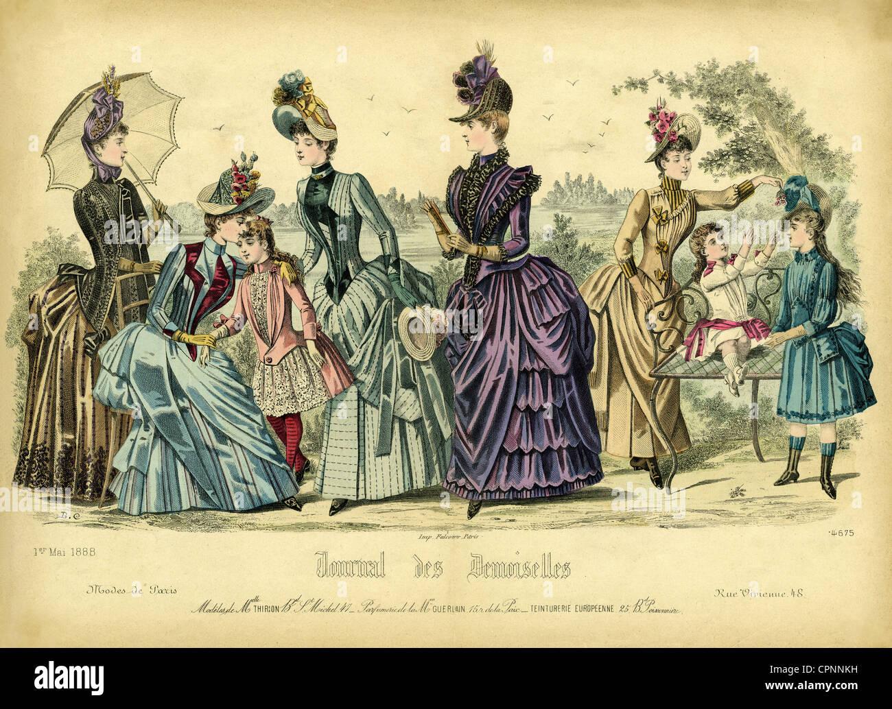 """Moda, la moda di Parigi, le donne e i bambini, al di fuori della rivista di moda """"Journal des Demoiselles', Immagini Stock"""