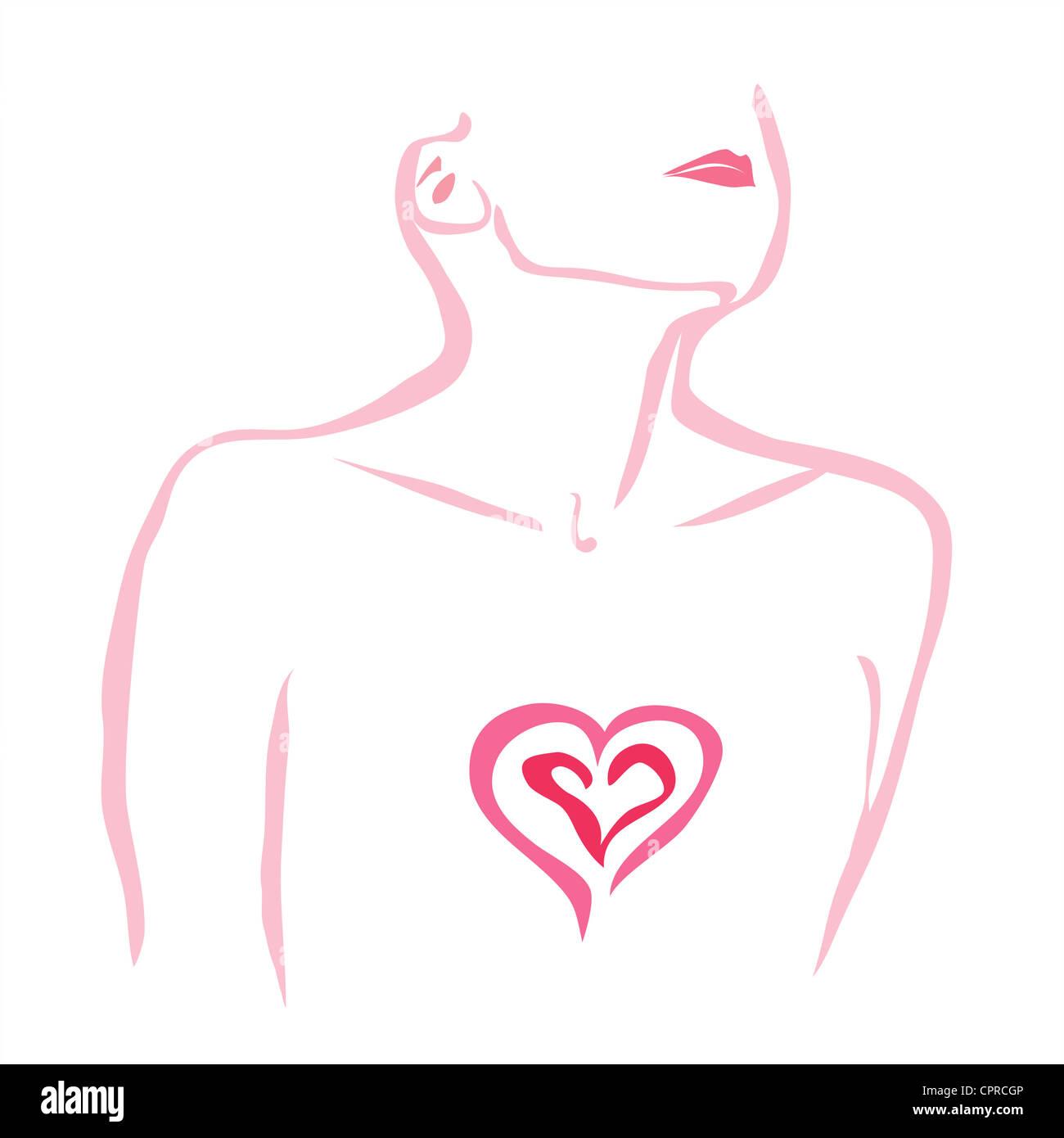 Angustia. Donna con il suo cuore esposto. Foto Stock