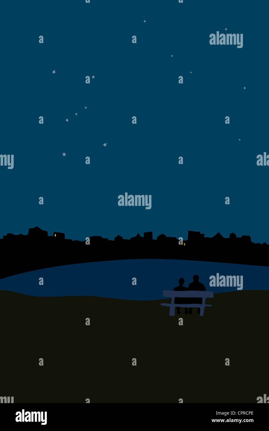Giovane guardando il cielo di notte Immagini Stock