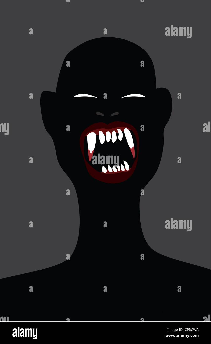 Vampiro con sanguinose zanne Immagini Stock