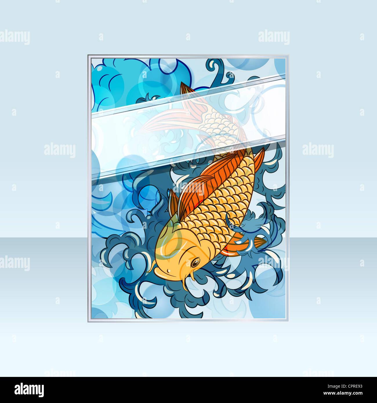 Banner con stile giapponese koi carp (pesce) Immagini Stock