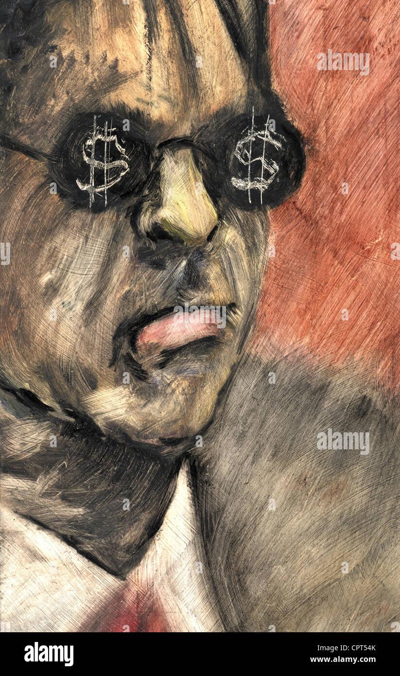 Un uomo con segni di dollaro sui suoi occhiali Immagini Stock