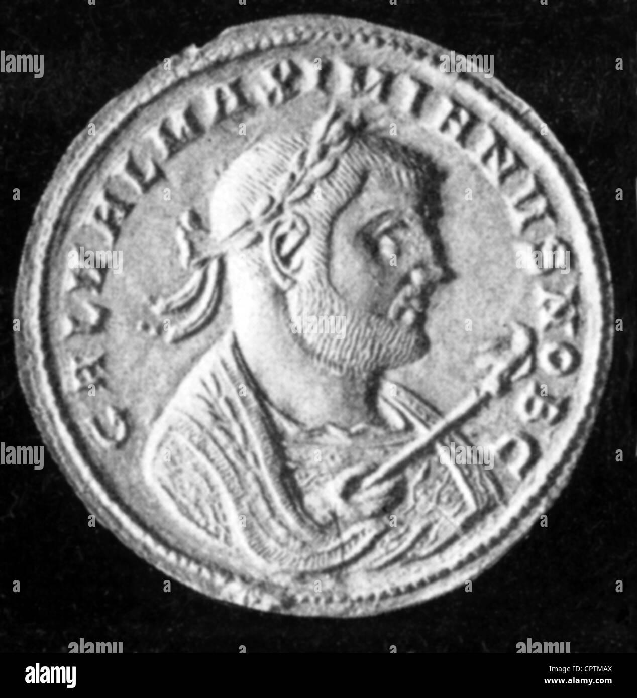 Galba, Servius Sulpicius, 24.12.3 BC - 15.1.69 annuncio, imperatore romano 3.4.68 - 15.1.69, ritratto, Coin, Romani, Immagini Stock