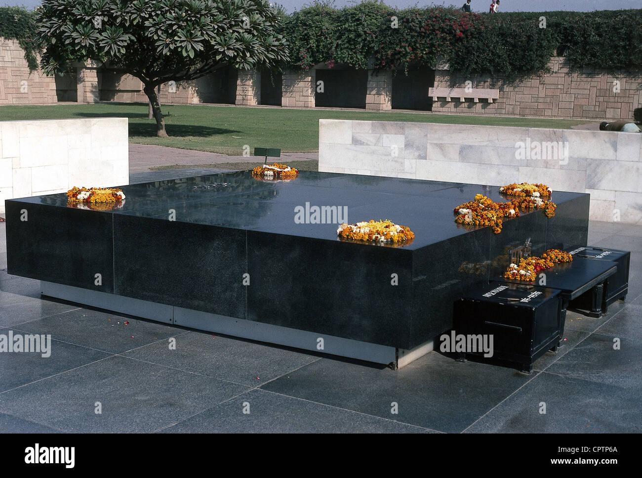 , Gandhi Mohandas Karamchand, chiamato mahatma, 2.10.1869 - 30.1.1948, uomo politico indiano, la sua tomba a Nuova Immagini Stock