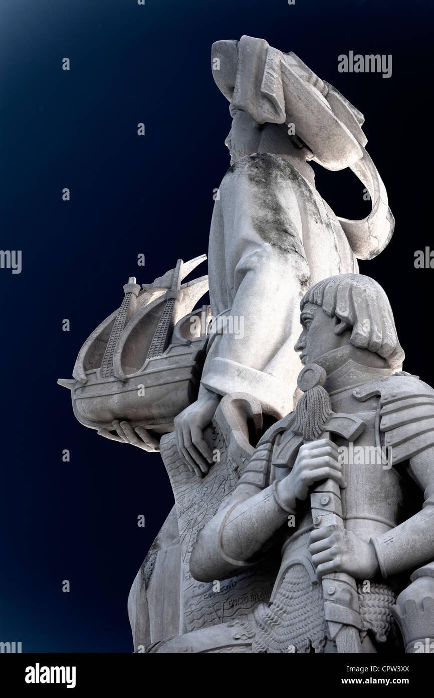 Dettaglio del Monumento alle Scoperte, Lisbona Portogallo Immagini Stock
