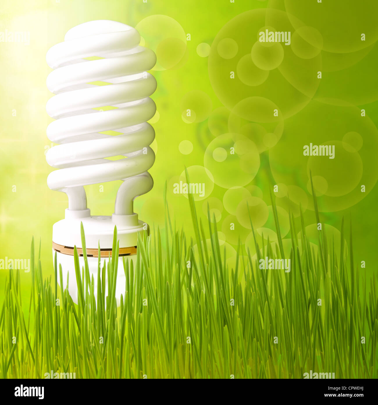 Risparmiare energia concetto astratto di sfondo verde Immagini Stock