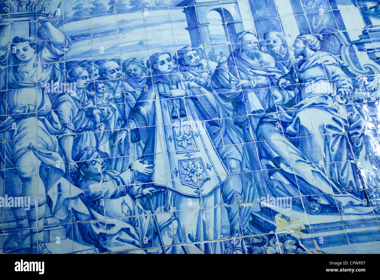 Piastrelle blu opera nella Chiesa di San Lorenzo, Almancil, Portogallo Immagini Stock