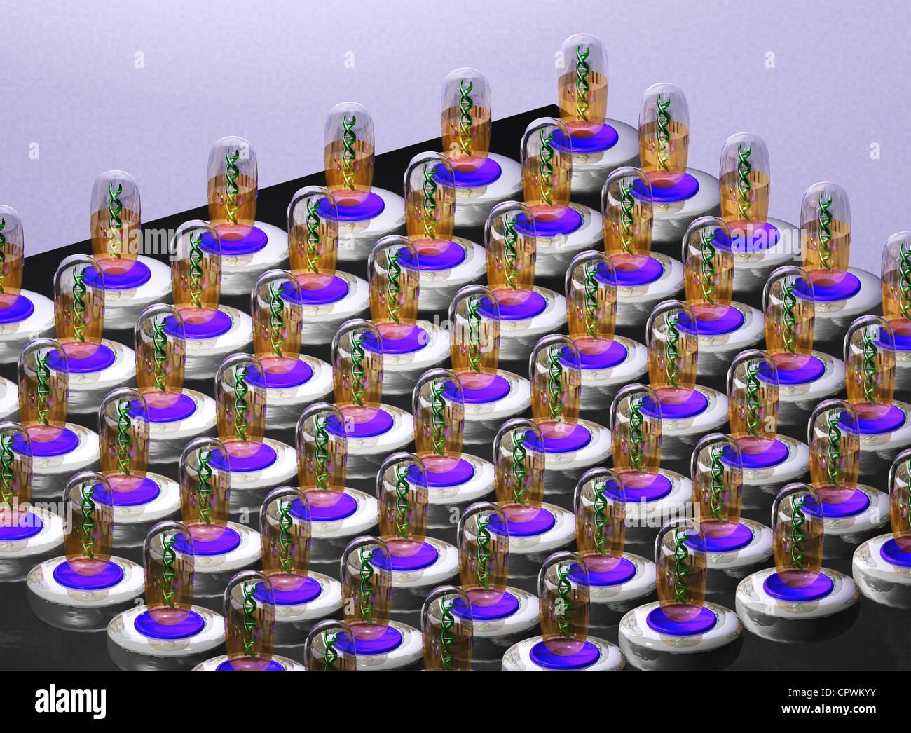 Illustrazione dei filamenti di DNA Immagini Stock