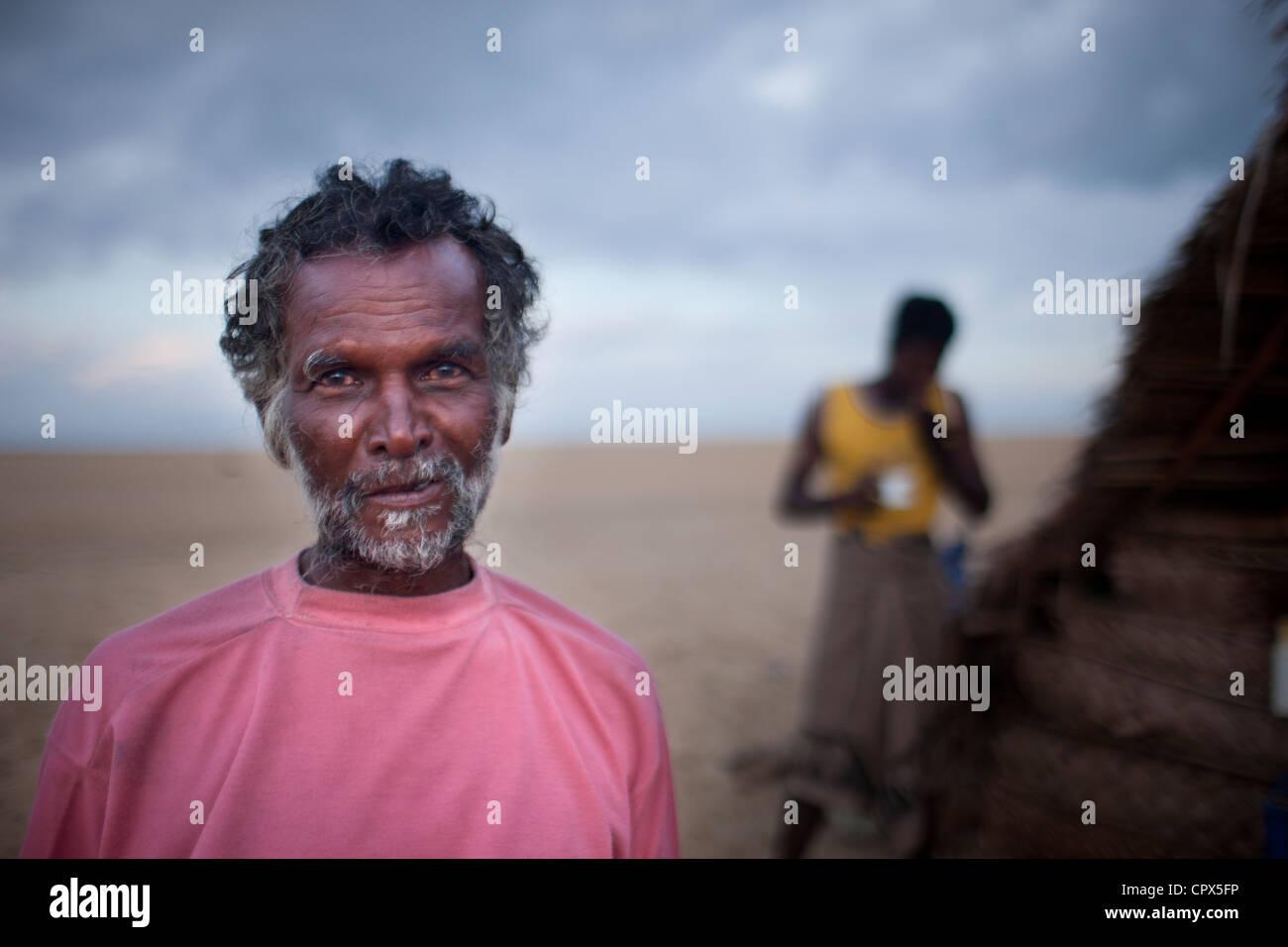 Un pescatore a Kalpitiya, Sri Lanka Immagini Stock