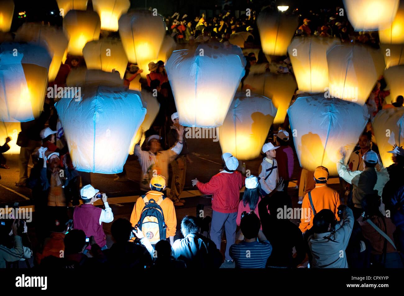 Taiwan, Distretto di Taipei, Shifen, festa delle lanterne Immagini Stock