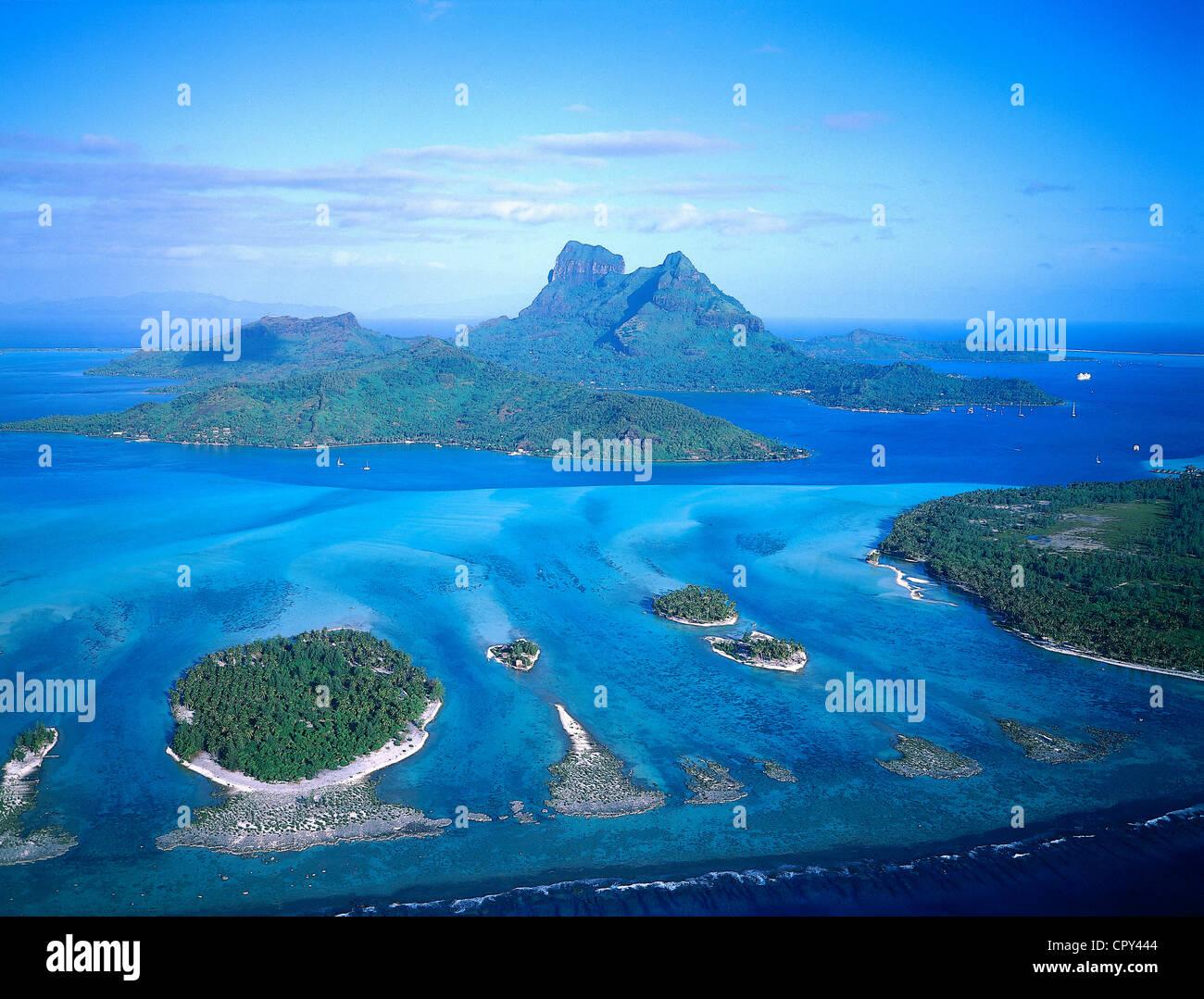 Francia Polinesia francese Isole della Società arcipelago delle Isole Sottovento, Bora Bora, l'isola e Immagini Stock