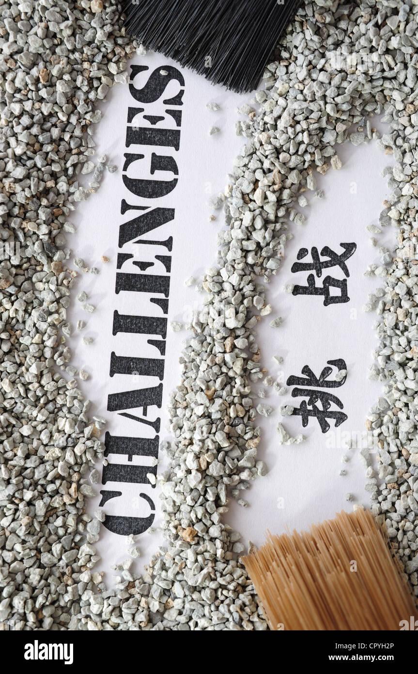Sfide -- tesoro serie di parola con la traduzione cinese Immagini Stock