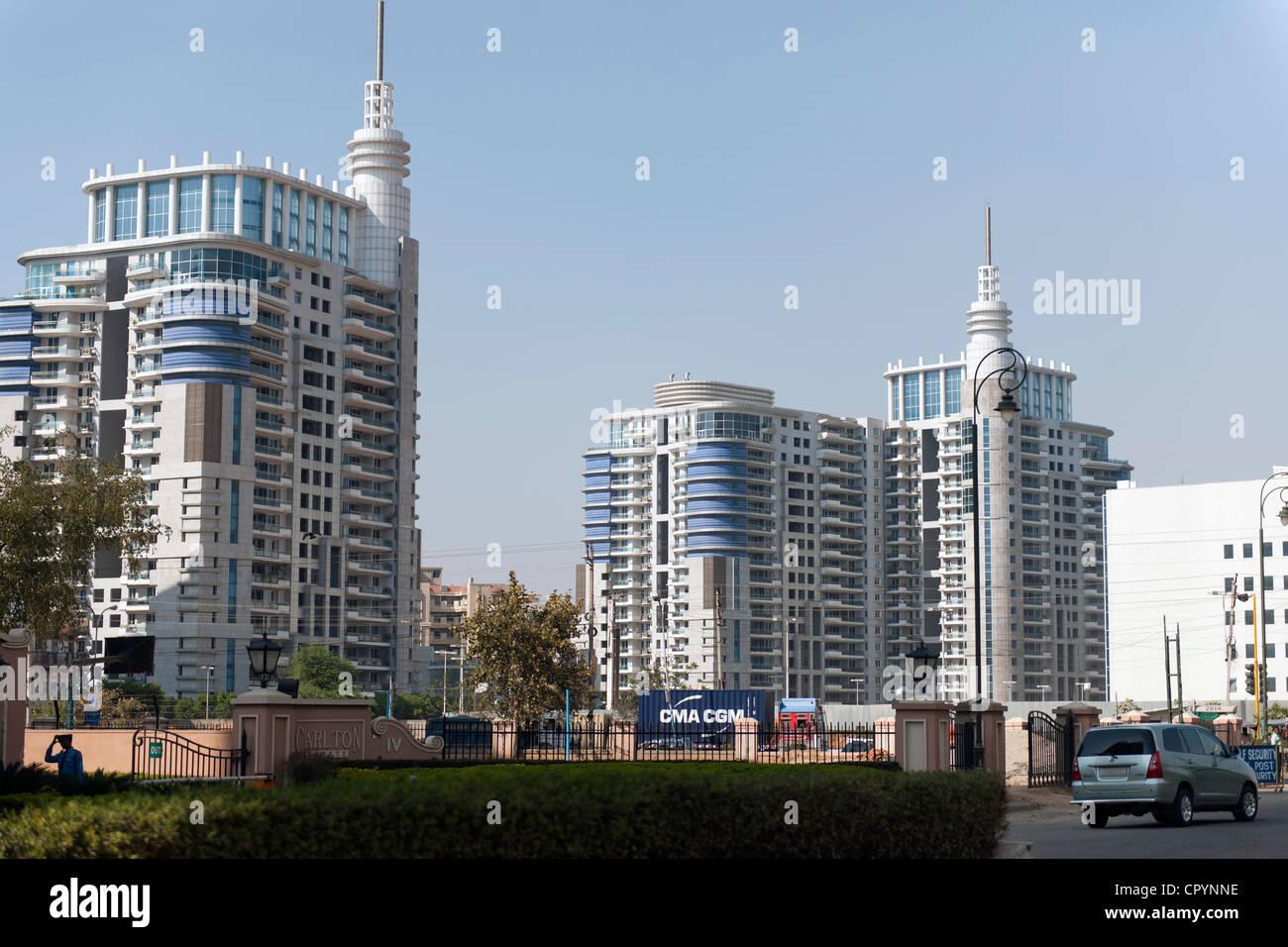 Nuove zone residenziali edifici ad alta, Gurgaon, Haryana, India, Asia Immagini Stock