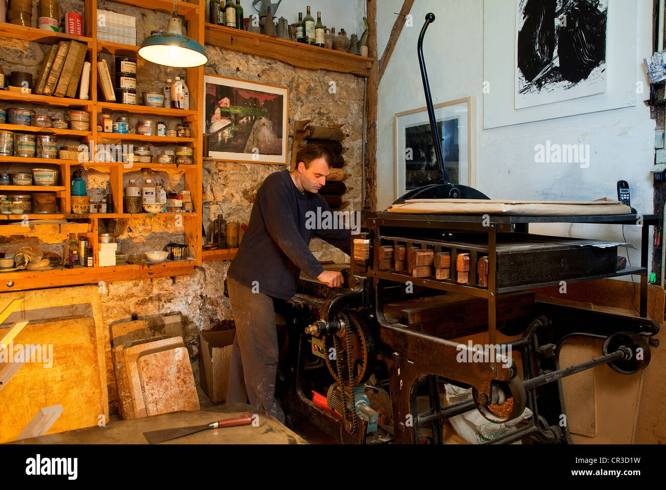 Francia, Parigi, un Fleur de Pierre workshop di litografia, Etienne de Champfleury Immagini Stock
