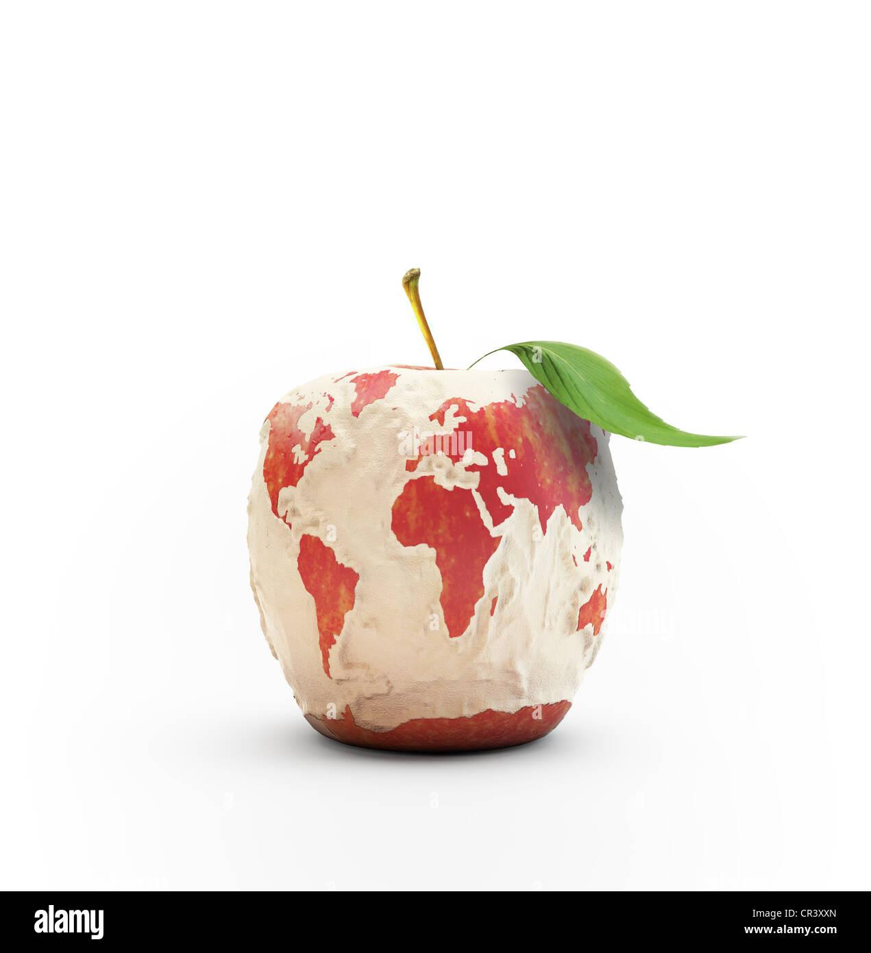 Mela sbucciata formante la mappa del mondo Foto Stock