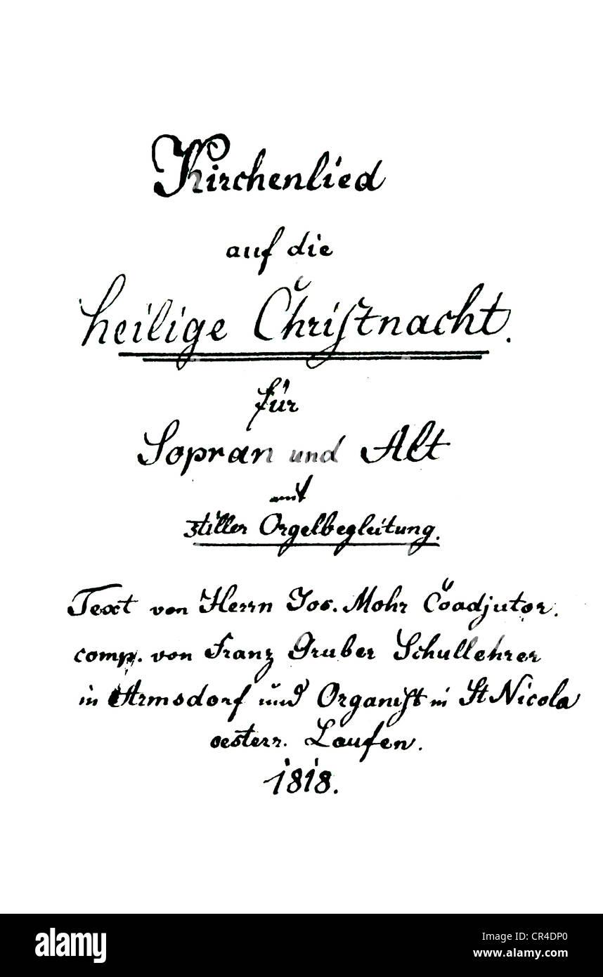 Stille Nacht Heilige Nacht, Notte Silenziosa Notte Santa canzone di Natale scritta per descant alto e organo, manoscritto Immagini Stock