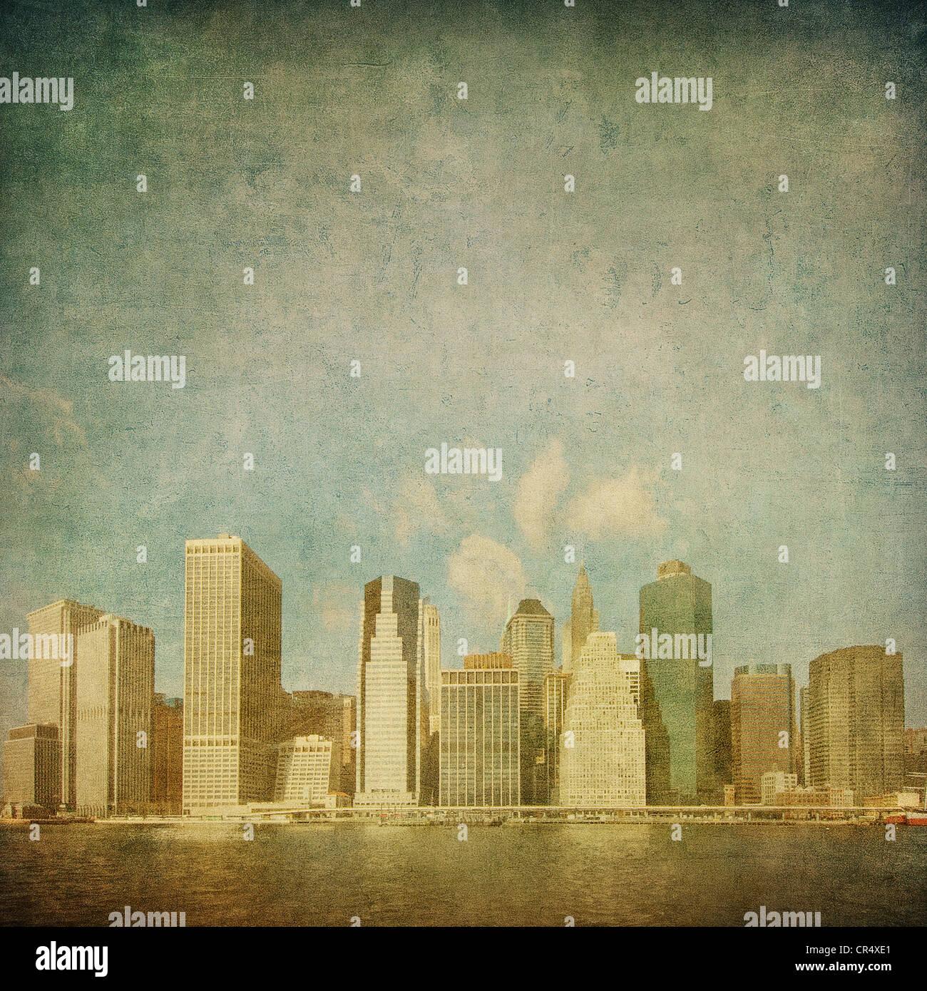 Grunge immagine dello skyline di new york Immagini Stock