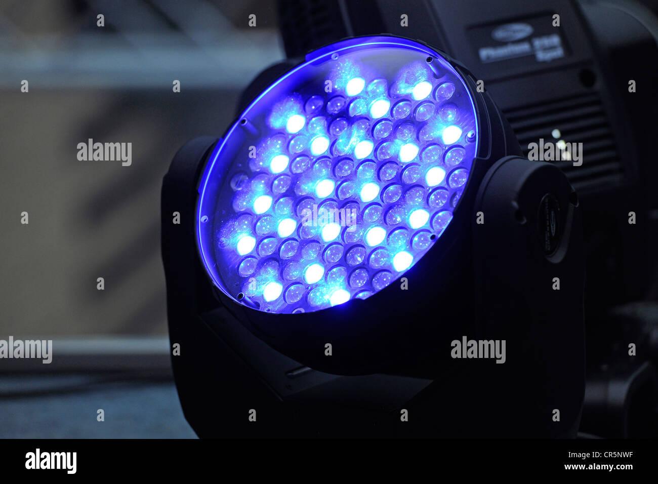 Caso di illuminazione, luce laser, luci blu Immagini Stock