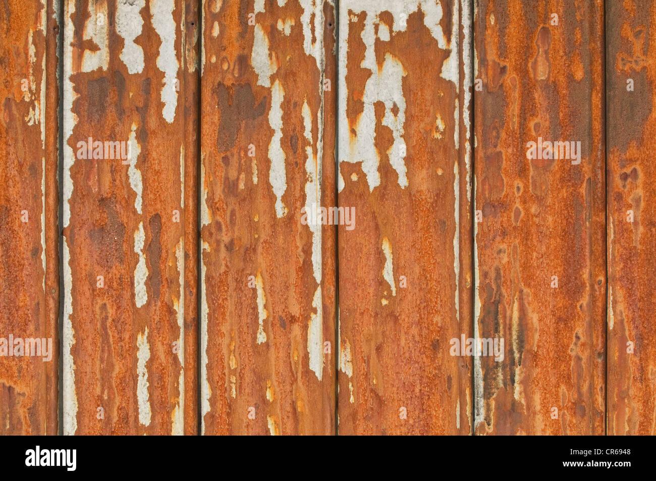 Metallo arrugginito piastre con residui di vernice Immagini Stock