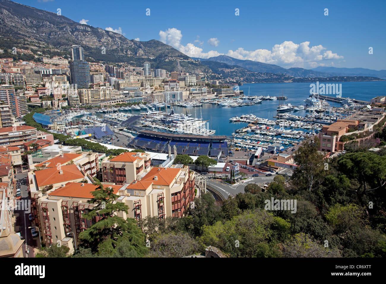 Città e il porto di Monaco, Europa Immagini Stock