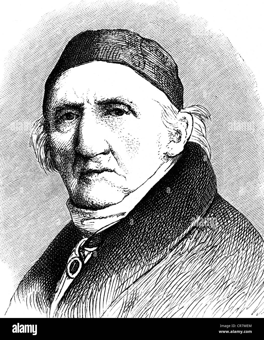 Schadow, Johann Gottfried, 20.5.1764 - 27.1.1850, scultore e grafico tedesco, ritratto, incisione in legno, 19th secolo, Foto Stock