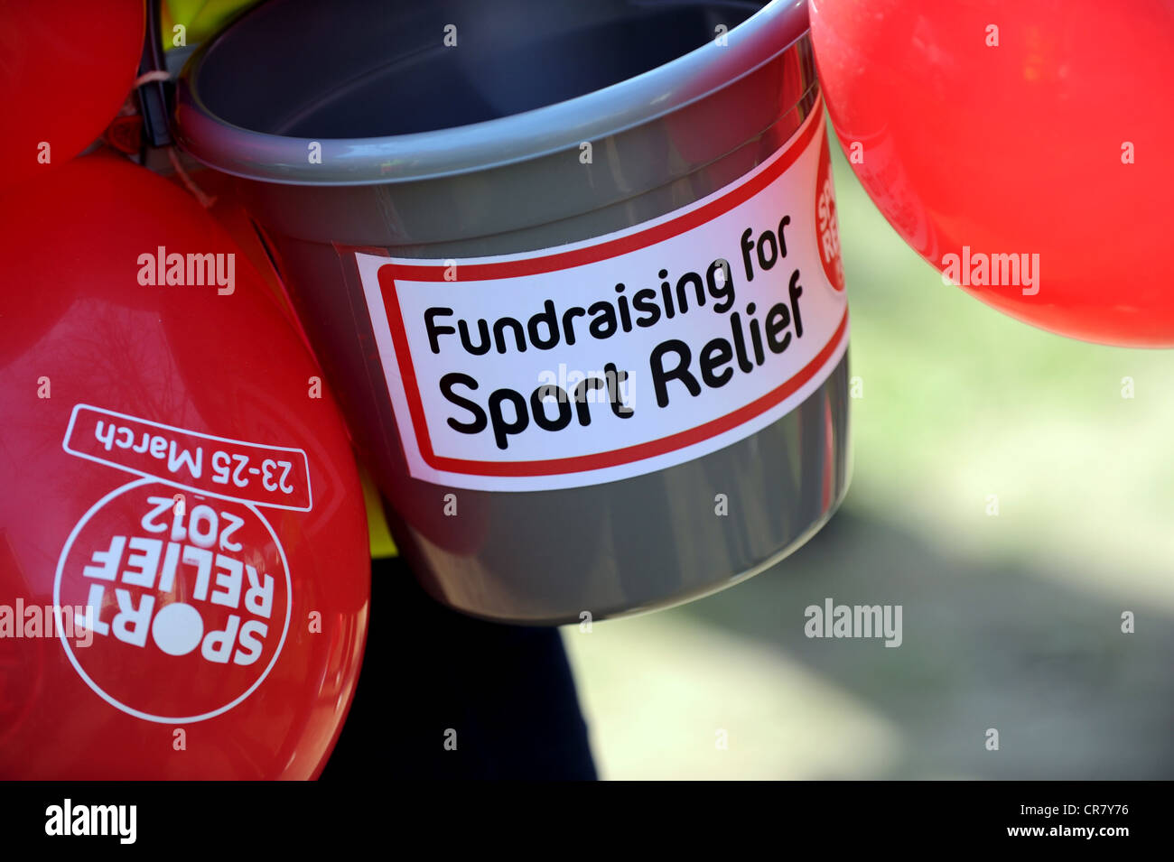 Sport Relief 2012 fund raising la benna e il palloncino Foto Stock