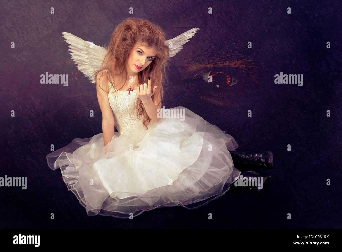 Falso angelo che conduce alla tentazione Immagini Stock