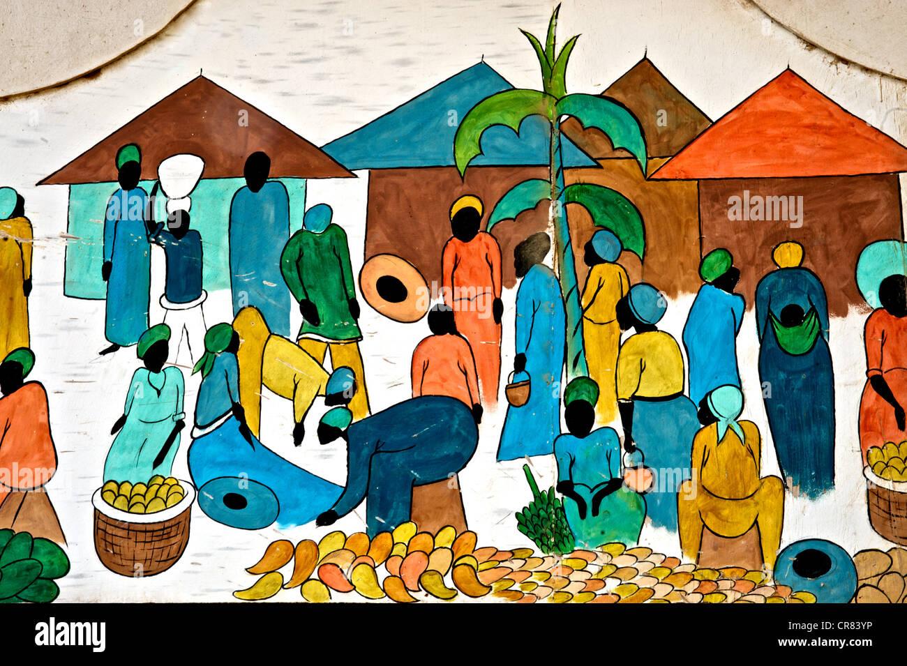 Dettaglio artistico di colorato disegno raffigurante la vita africana Foto Stock