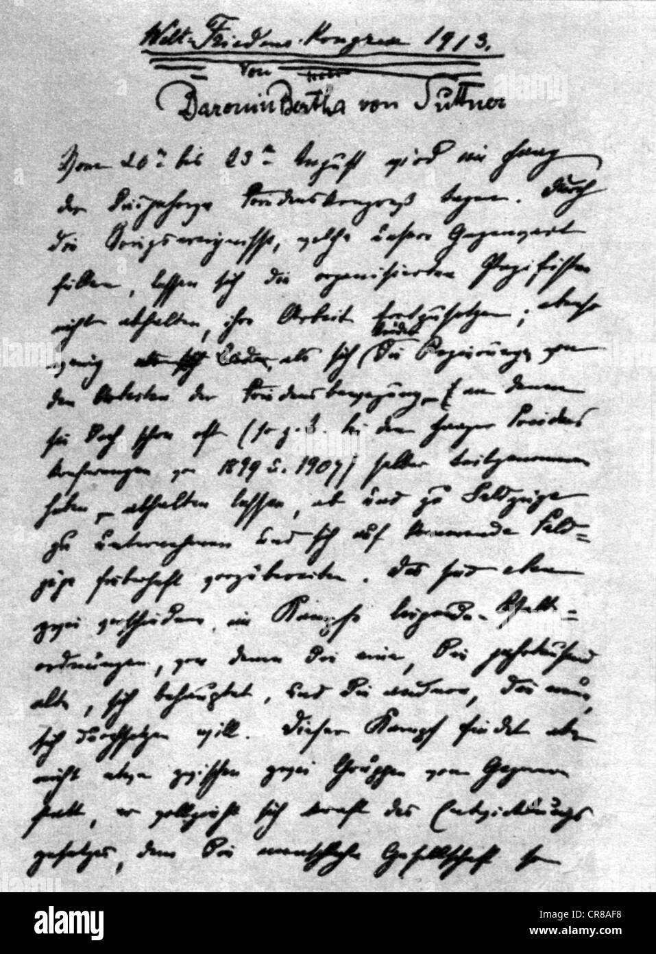 Suttner, Bertha von, 9.6.1843 - 21.6.1914, austriaco pacifista e scrittrice, calligrafia, manoscritto per il Congresso Immagini Stock