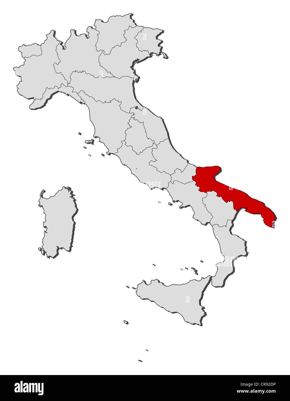 Cartina Politica Regione Puglia.Mappa Politica Dell Italia Con Le Diverse Regioni In Cui La Puglia E Evidenziata Foto Stock Alamy