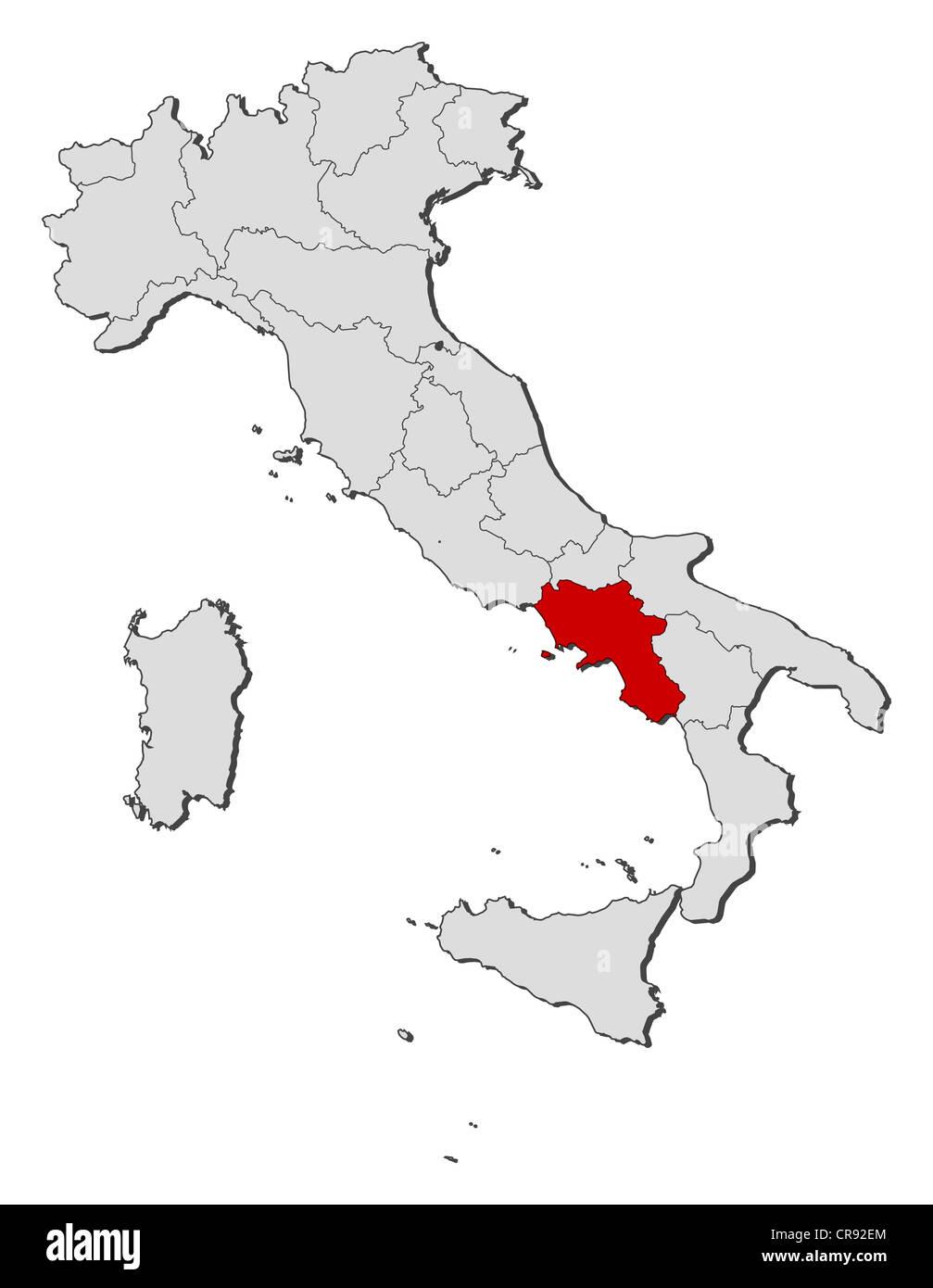 Cartina Geografica Politica Campania.Mappa Politica Dell Italia Con Le Diverse Regioni Dove La Campania E Evidenziata Foto Stock Alamy