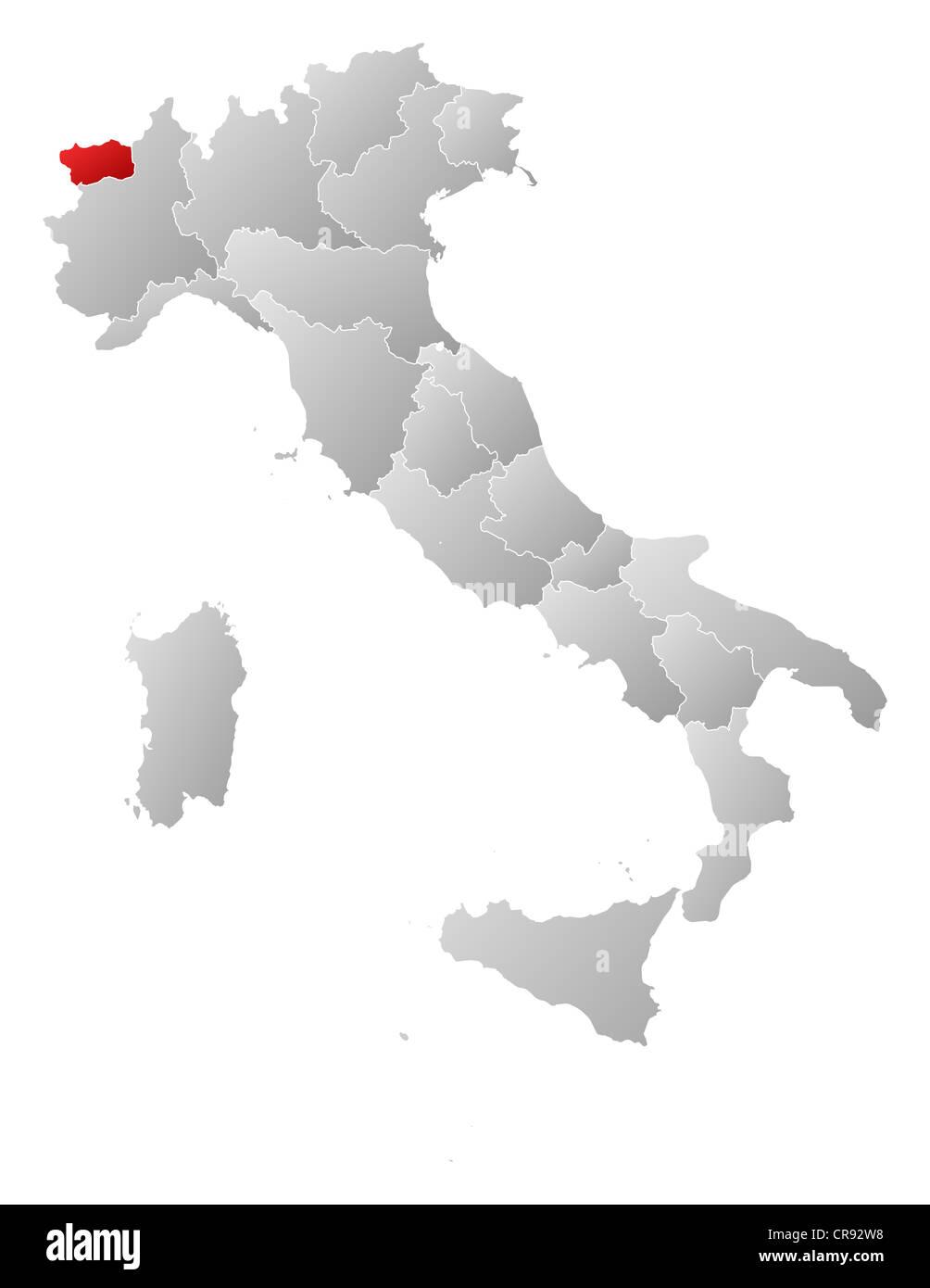 Valle D Aosta Cartina Geografica Politica.Mappa Politica Dell Italia Con Le Diverse Regioni Dove La Valle D Aosta E Evidenziata Foto Stock Alamy