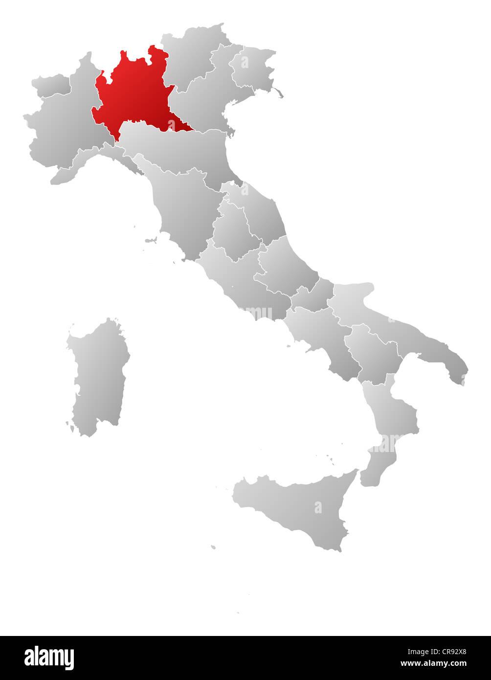 Regione Lombardia Cartina Politica.Mappa Politica Dell Italia Con Le Diverse Regioni Dove La Lombardia E Evidenziata Foto Stock Alamy