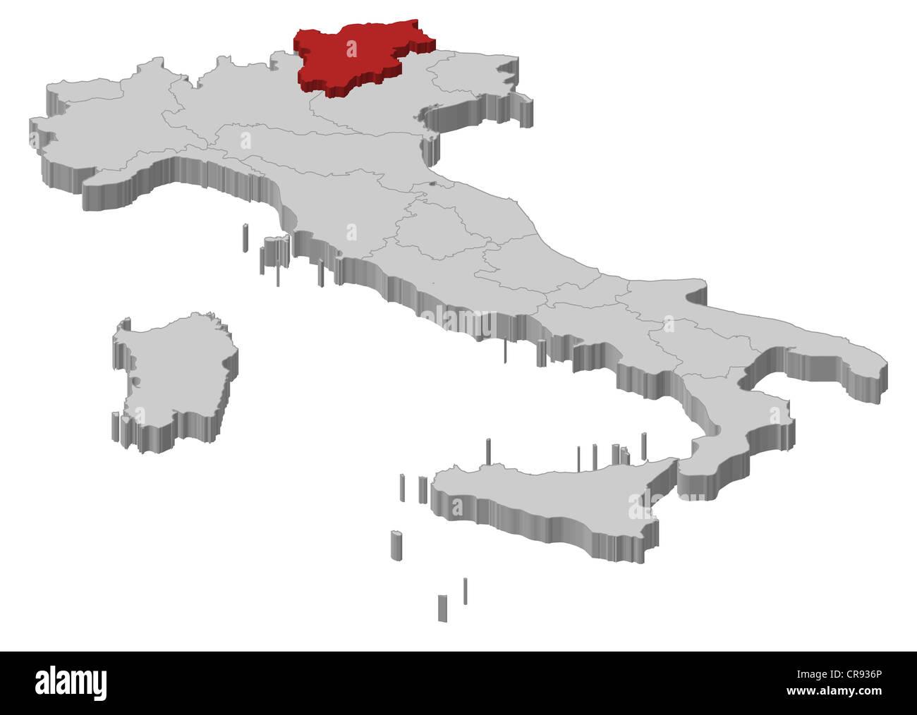 Cartina Italia Trentino Alto Adige.Mappa Politica Dell Italia Con Le Diverse Regioni Dove Il Trentino Alto Adige Sudtirol E Evidenziata Foto Stock Alamy