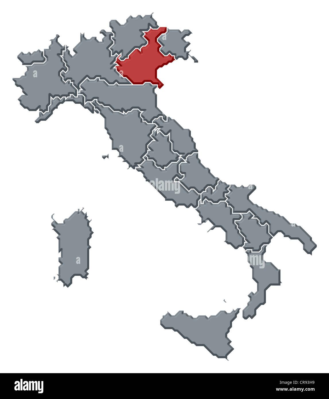 Cartina Italia Politica Veneto.Mappa Politica Dell Italia Con Le Diverse Regioni Dove Il Veneto E Evidenziata Foto Stock Alamy