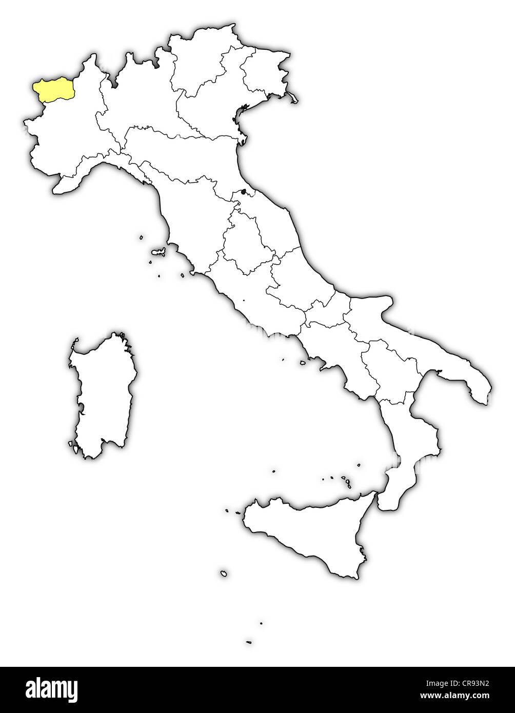 Cartina Italia Valle D Aosta.Mappa Politica Dell Italia Con Le Diverse Regioni Dove La