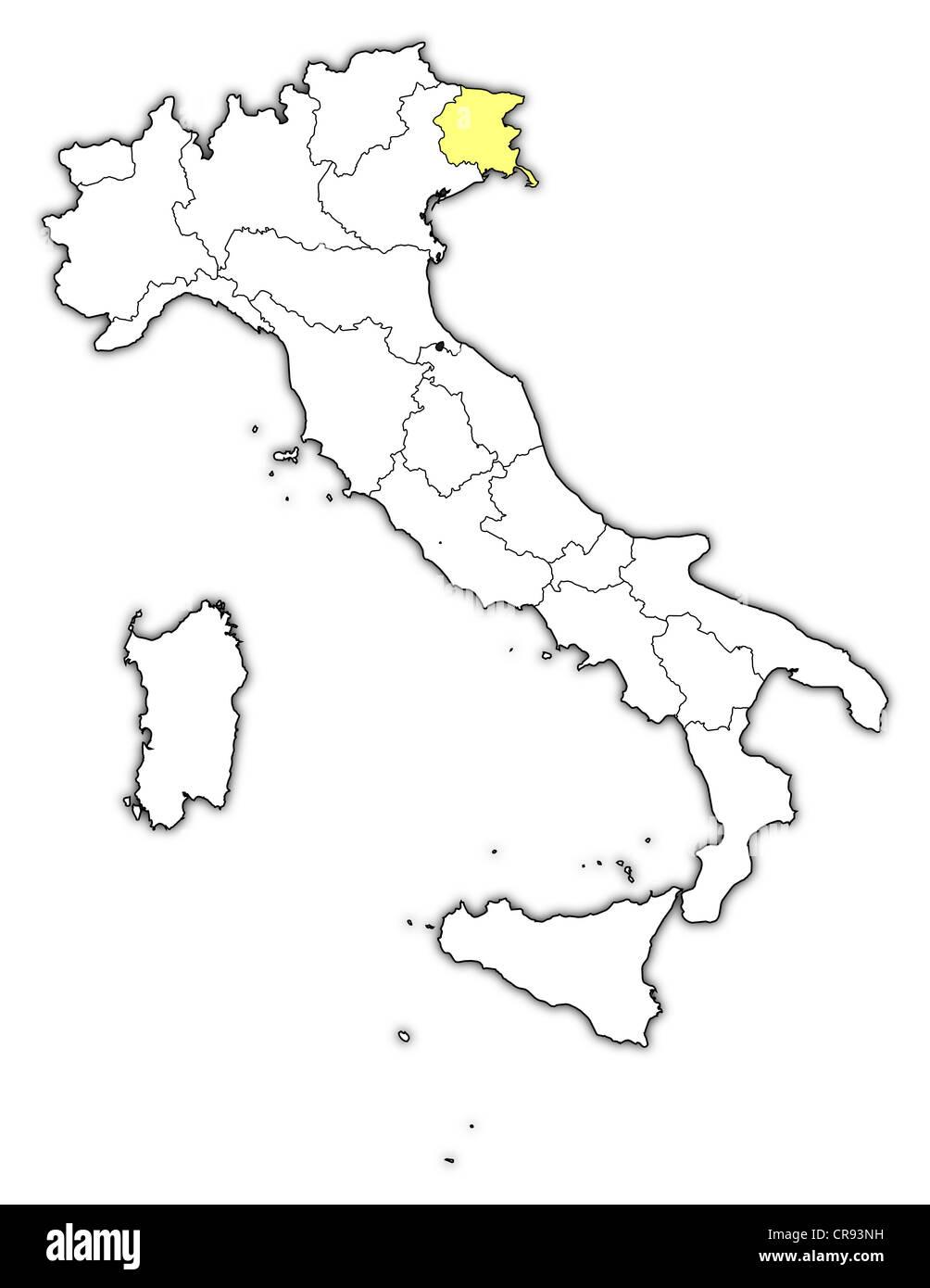 Cartina Italia Friuli Venezia Giulia.Mappa Politica Dell Italia Con Le Diverse Regioni Dove Il