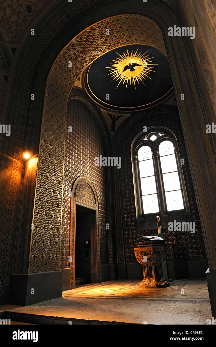 Ludwigskirche, St. Louis Chiesa, fonte battesimale, Monaco di Baviera, Germania, Europa Immagini Stock